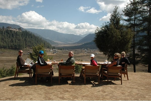Our farmhouse lunch with a vast view of Bhutan.