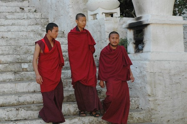 Bhutan monks in Punakha