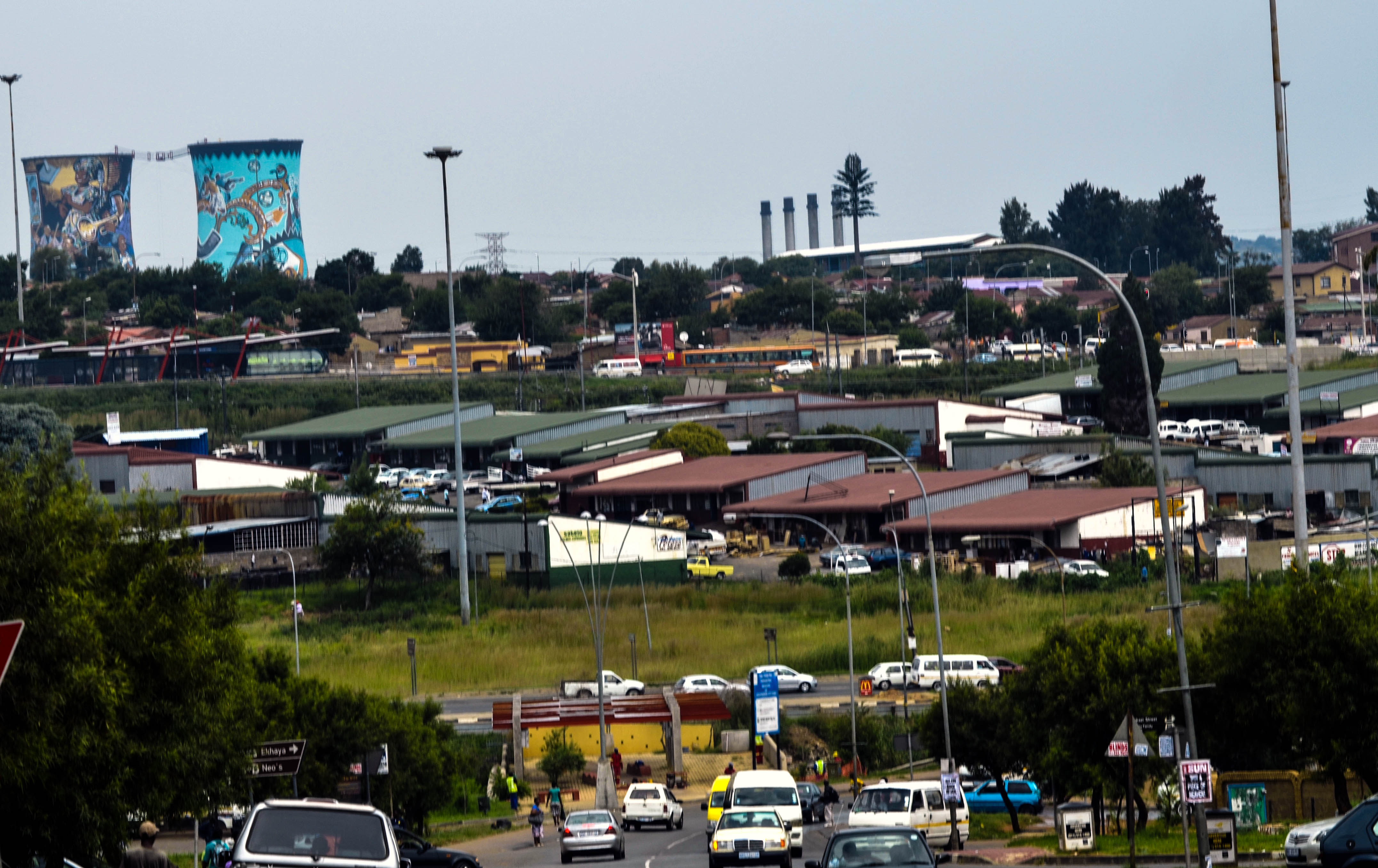 SOWETO (Johannesburg's SOuth WEst TOwnship) with the Orlando Cooling Towers visible in the Distance.