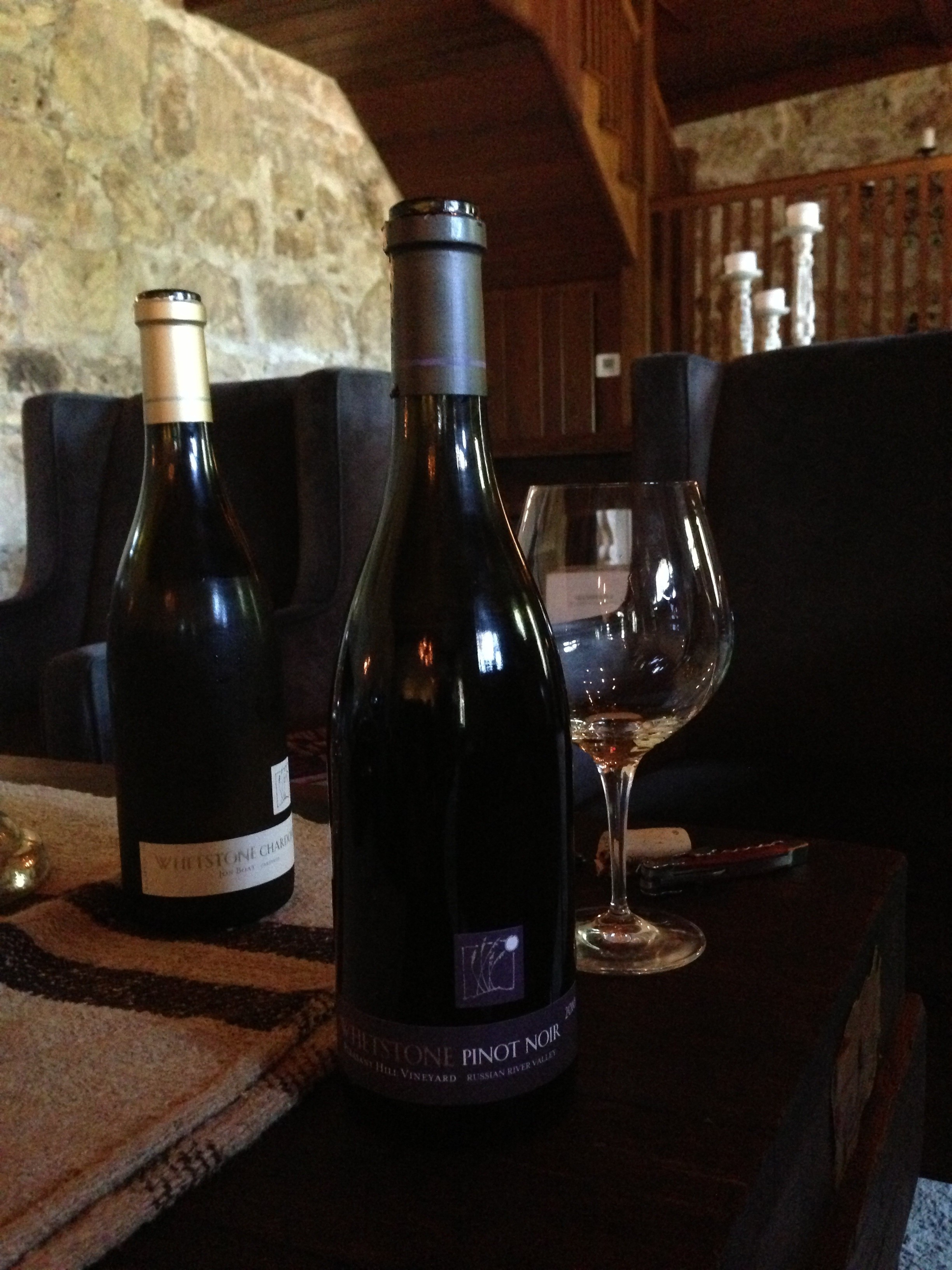 Sipping Pinot Noir at Whetstone.