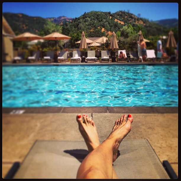 Lounging poolside at Solage Calistoga.