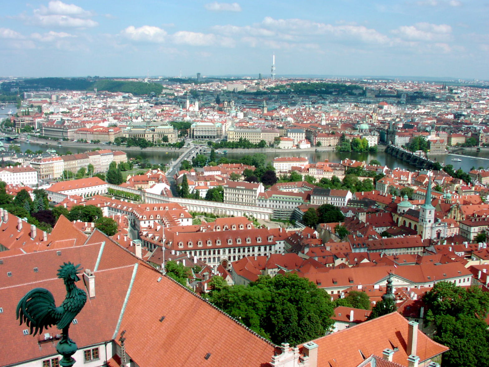 Overlooking the burnt orange roofs of Prague.