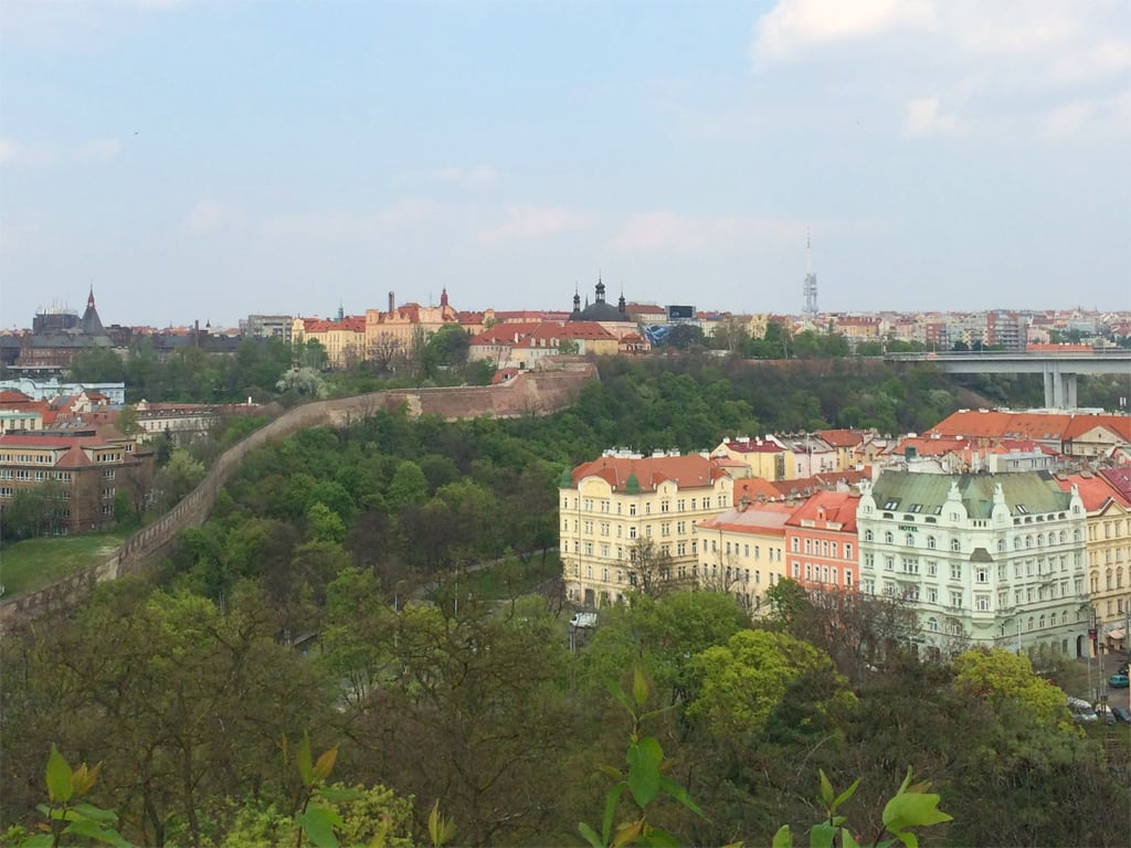 A view of Prague from Hradbach beer garden.