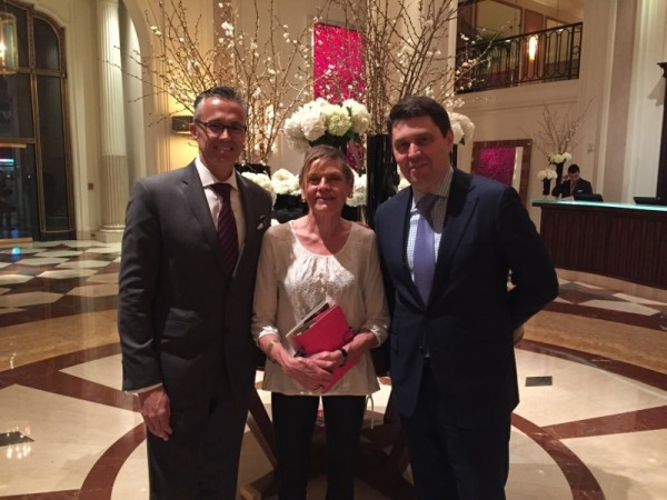 Mary with hotel GM Ben Trodd, left, and colleague Thomas Krooswijk Jr