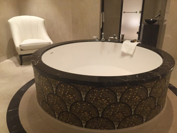 Bathtub in the master bathroom of the Pozharsky Suite