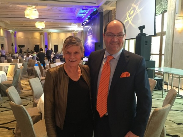 Mary with GM Max Musto in the large, pillar-free ballroom