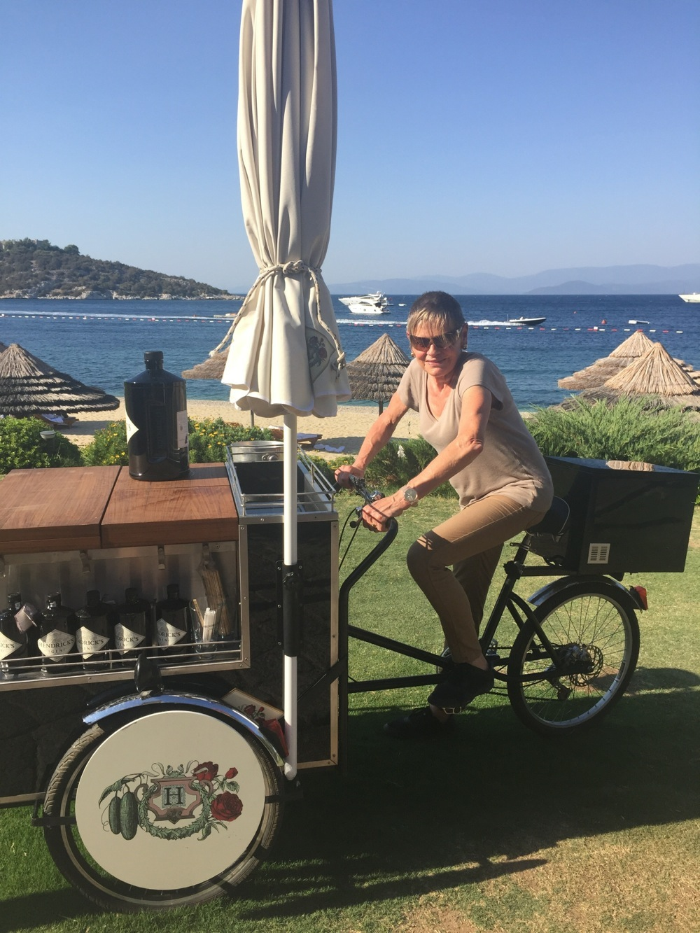 Mary tries the Hendrick's mobile bar