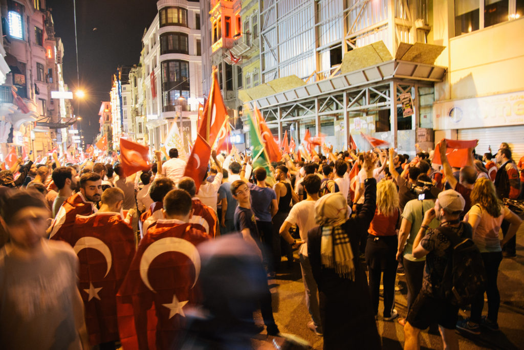 Istanbul coup parade flags