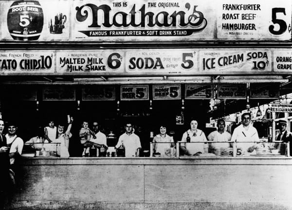 Nathan's has become an iconic part of Coney Island. CIrca 1920. Photo Credit: Nathan's.