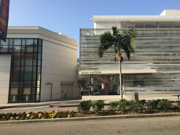 The view across from the hotel, Louis Vuitton on Rodeo Drive.